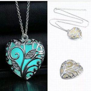 Jewelry - Heart necklace glow in the dark nwt